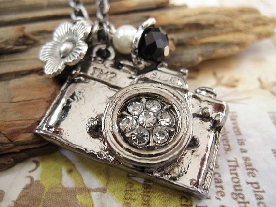 Take a picture. gunmetal finish vintage camera necklace