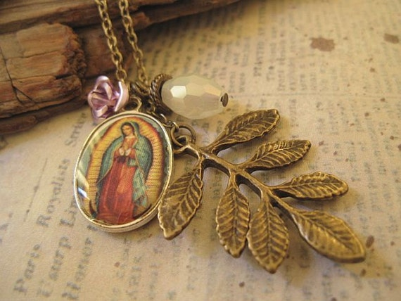 Virgin de Guadalupe Necklace with rose, crystal and leaves accent