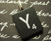 Scrabble Tile Letter Initial A-Z Pendant (black wood engraved with silver letters - 60th Anniversary Diamond Edition)