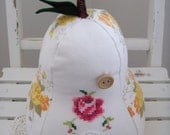 MINI Pear Shaped Pillow - Yellow/Orange Vintage Floral with Cross-stitch Panel (230)