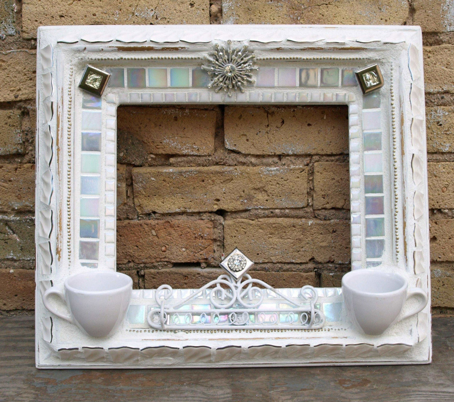 Mirror picture frame shabby chic mosaic tile art jewelry for Shabby chic wall tiles
