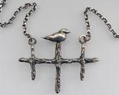 One of a Kind. Handmade Silver Bird Bead Pendant. OOAK. Sitting Pretty - Unique
