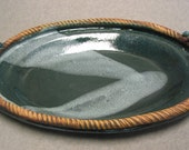Stoneware Oval Platter with Rope Handles