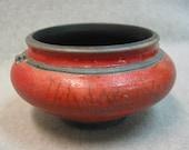 Red Crackle Raku Pot