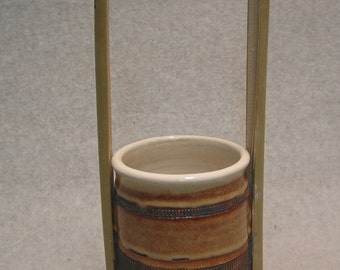 Shino Pot with Bamboo Handle by Juliano