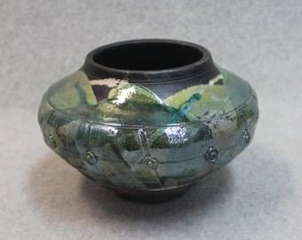 Green Button Raku Pot