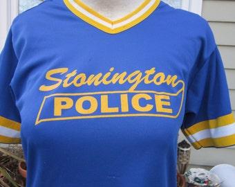 vintage tshirt STONINGTON POLICE jersey stoner pot weed marijuana CT