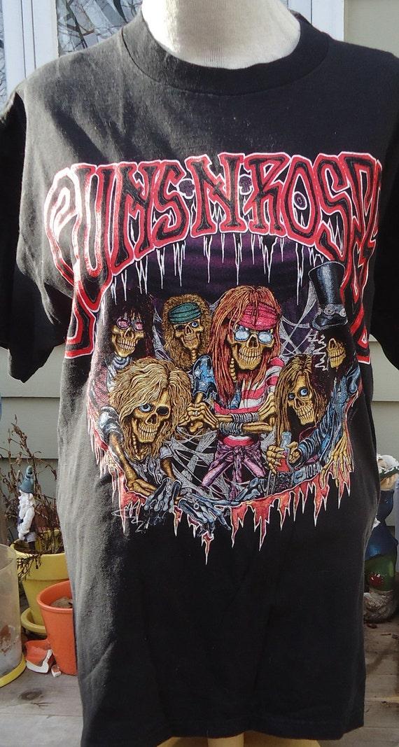vintage tee GUNS N ROSES skeleton cartoon XL T Shirt g-n-f-n-r
