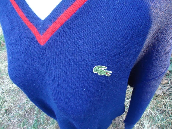 vintage Lacoste Izod v-neck CARDIGAN SWEATER blue red Large