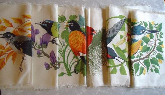 6 vintage BIRD cloth placemats