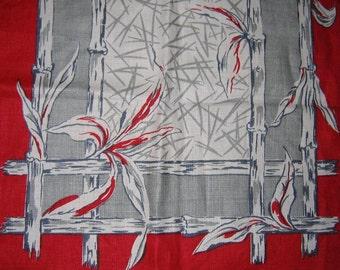 Vintage 1950s Tea Towel/50s Red Linen Tea Towel/50s Tea Towel With Bamboo & Floral Design