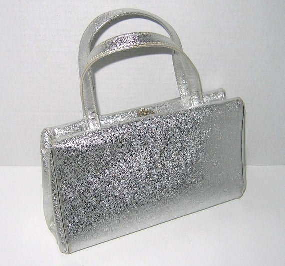 Vintage Silver Lame Purse With Rhinestone Clasp By Miss Lewis