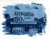 Elvis, cyanotype, sun print, Elvis Presley print, Graceland, cyanotypes, blue print, home decor, diner, photo, fine art photography,