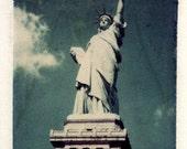 Polaroid transfer statue of liberty, new york, fine art photography, home decor new york, polaroid transfers, liberty, statue of liberty