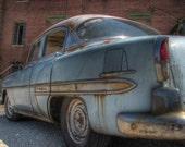 1954 Chevy Bel Art Print, fine art photography, vintage car, car home decor, 1950's home decor, rusty car, old car, car photography