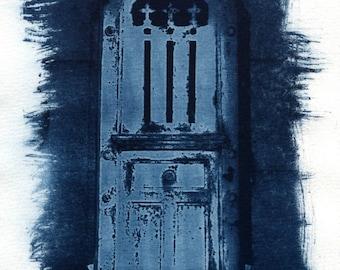 Pere Lachaise cyanotype, sun print, Paris, Paris cemetery, door, blue door, home decor, cyanotypes home decor, alternative process photo