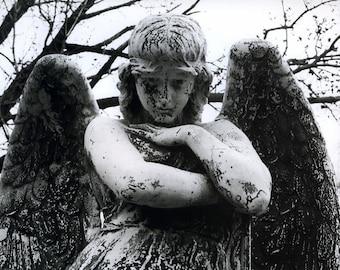 Black and White Angel Print, angel photo, black and white photography, cemetery photo, fine art photography, angel home decor, sad angel