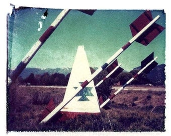 Polaroid Transfer tee pee, indian home decor, fine art photography, arrow photography, indian photo, Indian tee pee photography, home decor