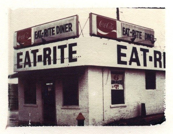 Polaroid transfer eat rite diner 8 x 10 signed by artist, Polaroid transfers, home decor, kitchen decor, eat, food, diner photo, fine art