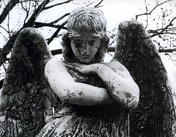 Black and White Angel Print, angel photo, black and white photography, cemetery photo, fine art photography, angel home decor, sad angel