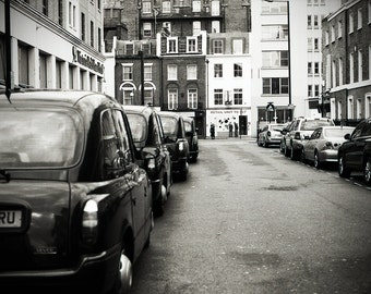 Taxi Queue 8x12 Mounted Black and White Print