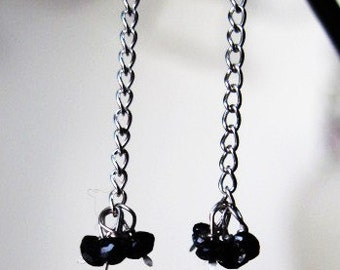 1 1/2 mm Black Hand Faceted Diamond Earrings