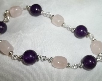 Rose Quartzand Amethyst Bracelet