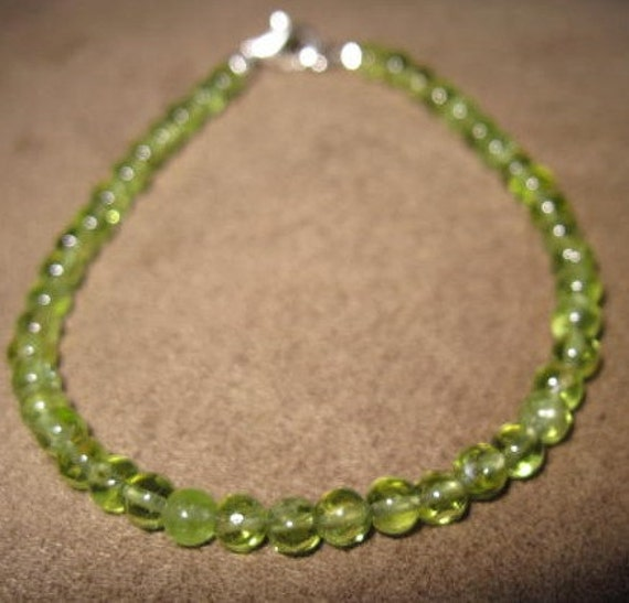 Smooth Peridot Sterling Silver Stackable Bracelet
