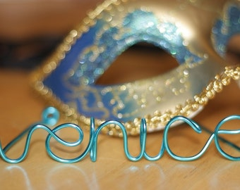 TURQUOISE personalized wire photo holder
