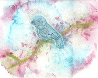Watercolor Fine Art Original Painting Blue Bird in a Cloud