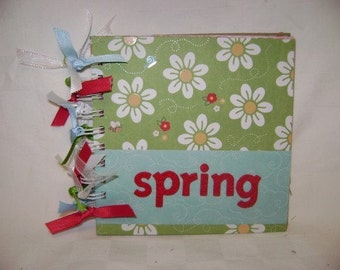 SPRING - 6x6 Chipboard Mini Scrapbook Album - PREMADE