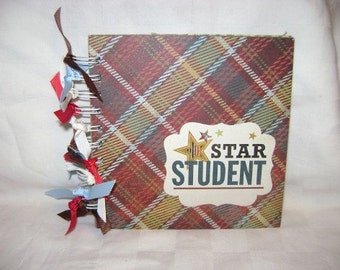STAR STUDENT 6x6 Chipboard Mini Scrapbook Album - PREMADE