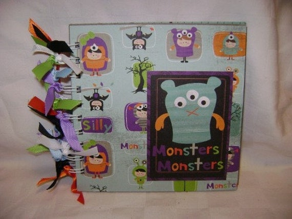 MONSTERS 6x6 Chipboard Mini Scrapbook Album - PREMADE
