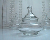 Vintage Apothecary Jar - Roly Poly - Clear Glass / Short and Wide Small in Size