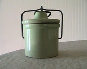 Vintage French Country Green Crock / Pottery / Cheese Crock / Jam Pot / Cottage / Farm House / Kitchen