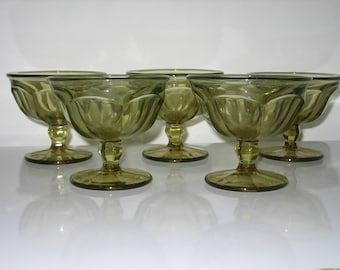 Vintage Olivette Green Stemmed Desert Cups - Set of 5