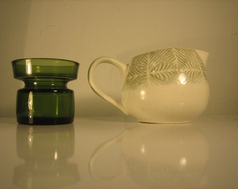 Dansk -  Instant Collection of 2 Pieces  - Green Dansk Candle Holder and Dansk LYON Fern Cream Pitcher