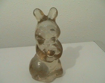 Vintage Solid Glass Bunny Rabbit Figurine - Easter - Collectible