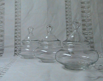 Vintage Set of 3 Apothecary Jars - Clear Glass - Candy Jar / Short and Wide Small in Size