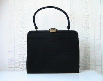 Vintage 1950s Lewis Crown Black Felted Wool Handbag