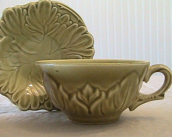Vintage Steubenville Chartreuse Green Cup and Saucer - Woodfield