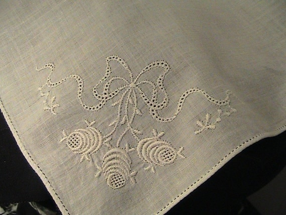 Vintage Elegant Ribbon and Roses White Cotton Hankie