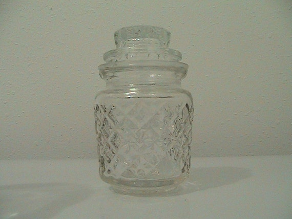 Vintage Pressed Glass Apothecary Jar 4 1/2 inches high - Instant Coffee Container -