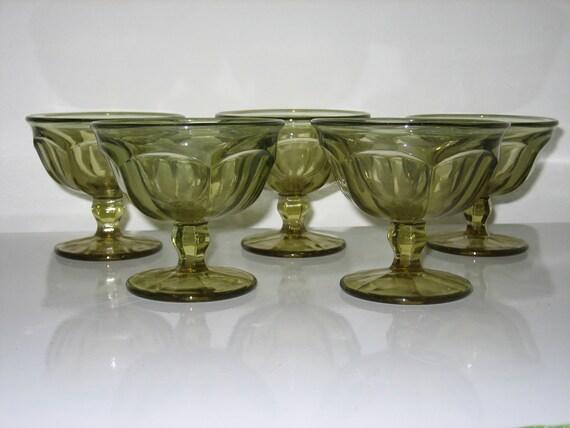 Vintage Olivette Green Stemmed Desert Cups - Set of 5