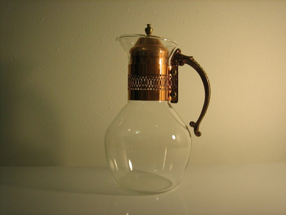 Vintage Mid Century Modern -  Princess House Carafe - clear glass and Copper- Elegant