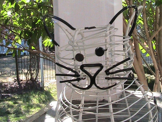 RESERVE foor PAT - Shabby  Old Happy Cat Wire Planter Basket