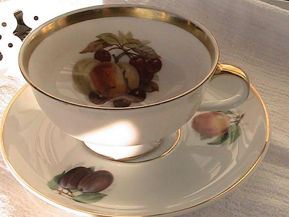 Vintage Tea Cup and Saucer - Golden Crown E & R 1886 - Bavaria - Fine China