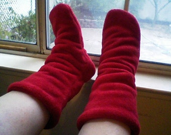 Fully Lined Solid or Print Minky Fleece Slipper Socks with non-slip sole