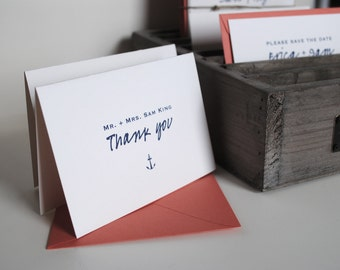 salty thank you notes: Personalized folded notecards, Nautical wedding notecards, Custom thank you notecards