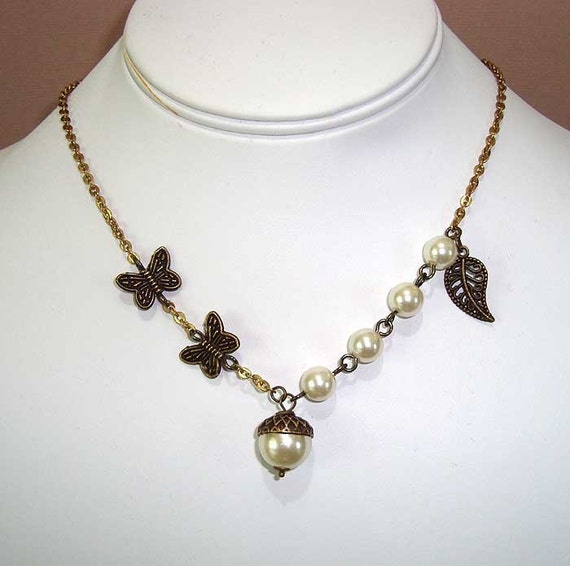 Bronze Brass Acorns, Butterflys and Leaf Necklace with White Ivory Pearls